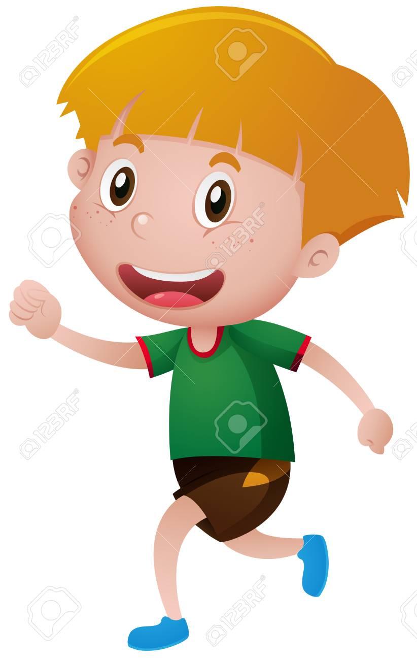Niño Pequeño En La Ilustración Camiseta Para Correr Ilustraciones ... 1893f8a6bfe
