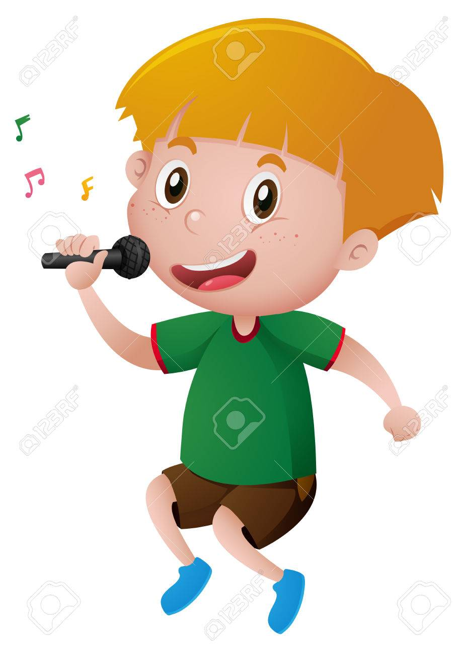 little boy singing with microphone illustration royalty free rh 123rf com singing clip art border singing clipart images