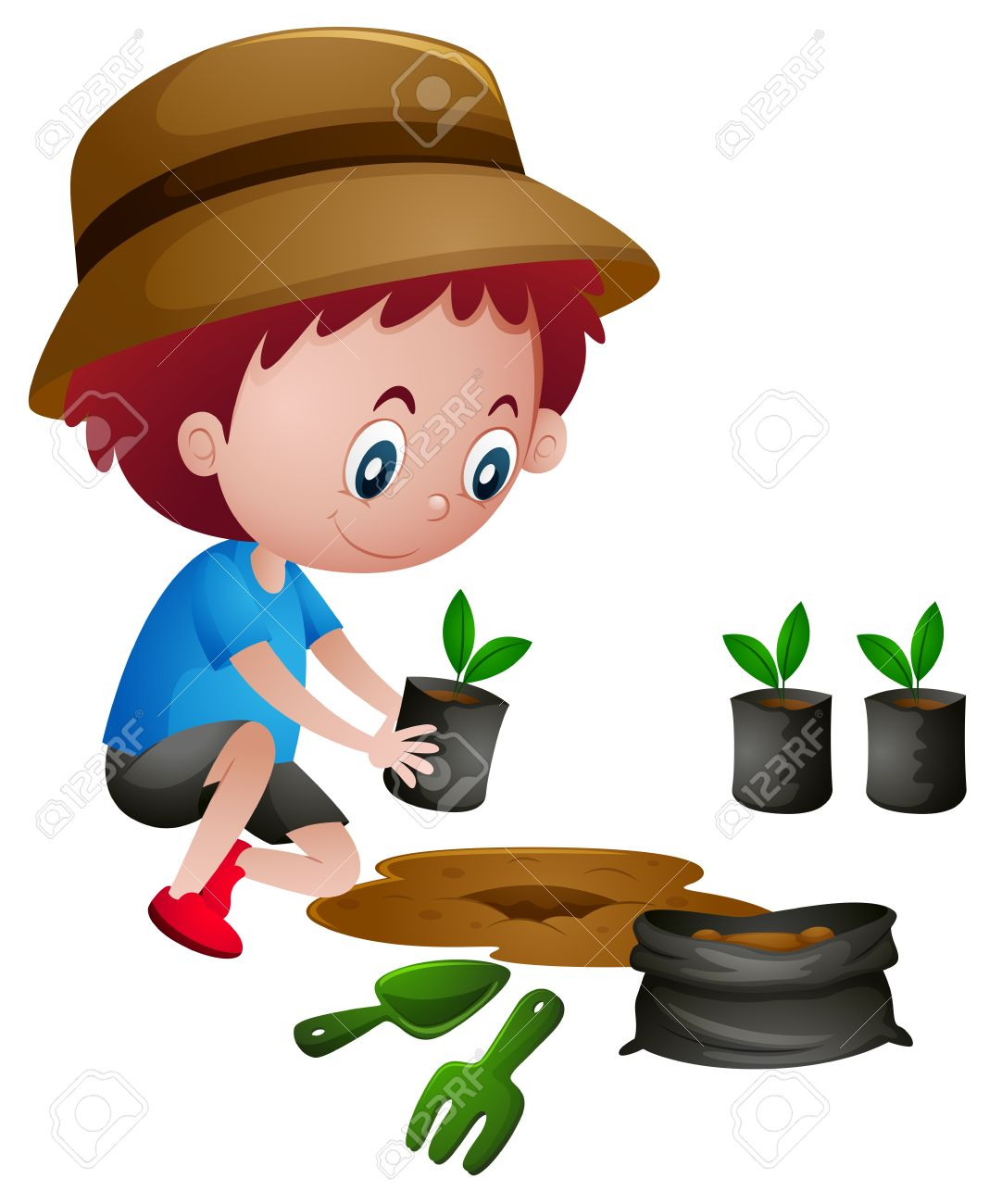 Boy planting trees in the ground illustration - 66895385