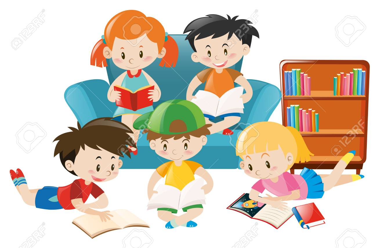 children reading books in the room illustration royalty free rh 123rf com Finger through Book Open Book Clip Art