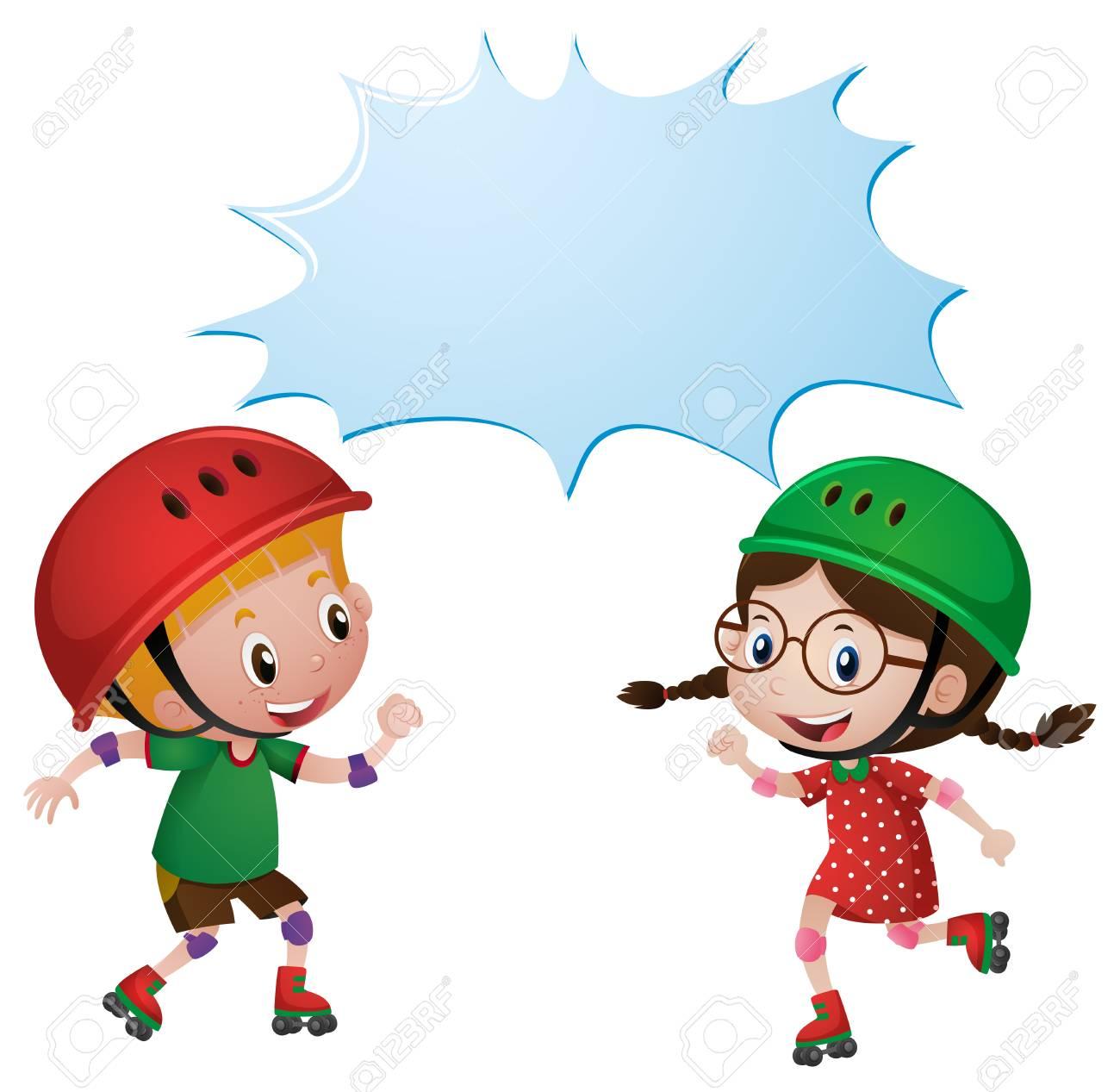 Plantilla De Borde Con Dos Niños Patinando Ilustración Ilustraciones ...