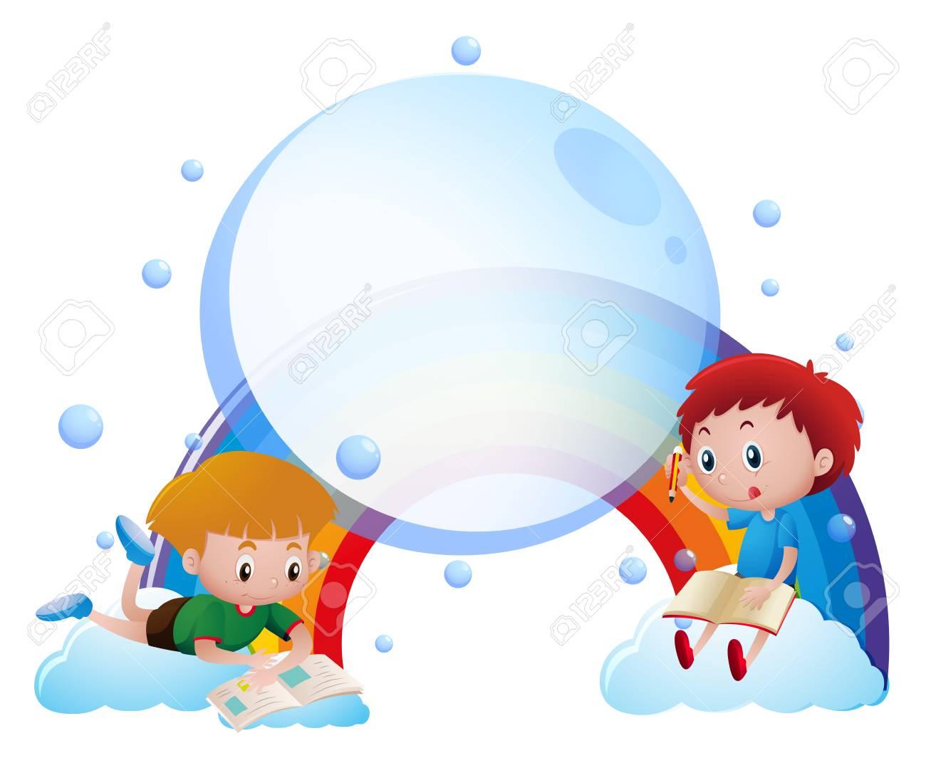 Plantilla De Papel Con Niños Leyendo Y Escribiendo Ilustración ...