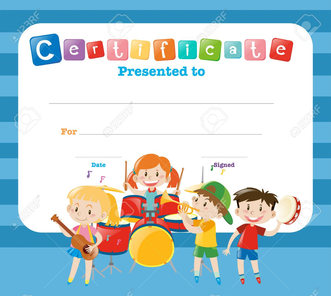 Certificate Template With Kids In The Band Illustration Royalty Free ...