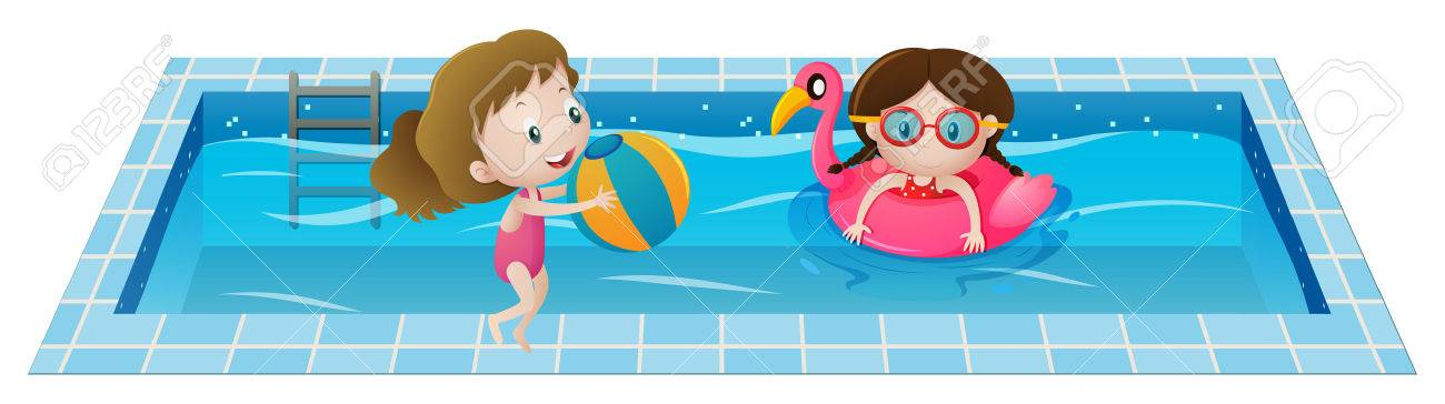 Two girls playing in the swimming pool illustration - 68170854