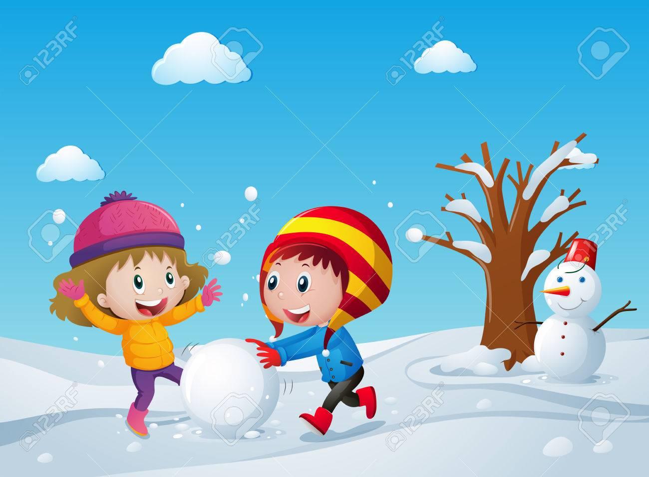 Ninos Jugando En El Campo De Nieve Ilustracion Ilustraciones