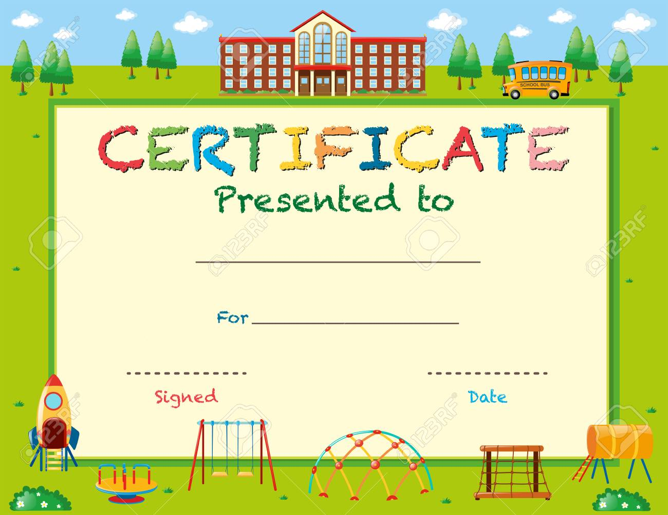 Certificate template with school in background illustration certificate template with school in background illustration stock vector 68170887 yadclub Image collections