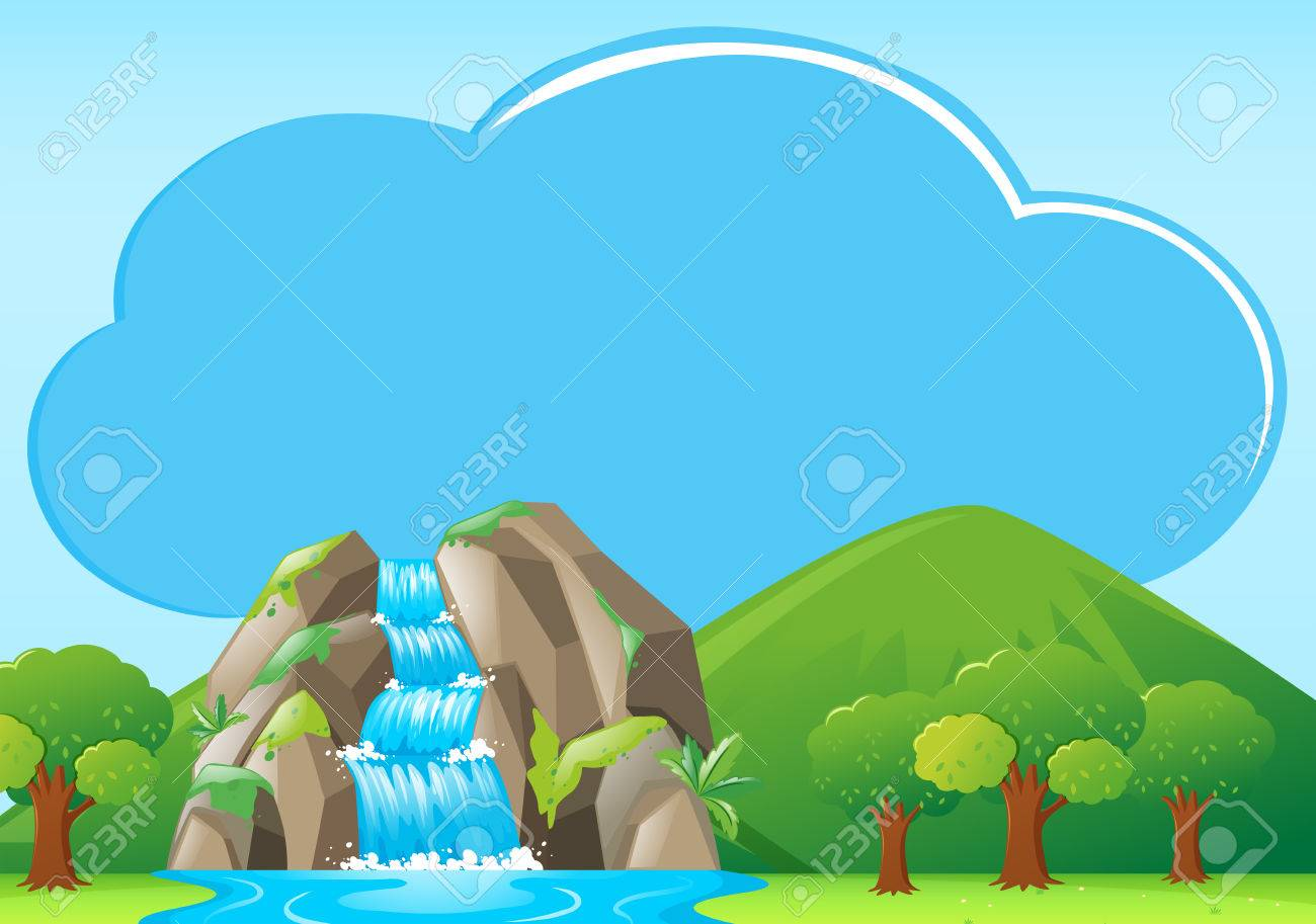 Border Template With Waterfall In Backgroud Illustration Royalty