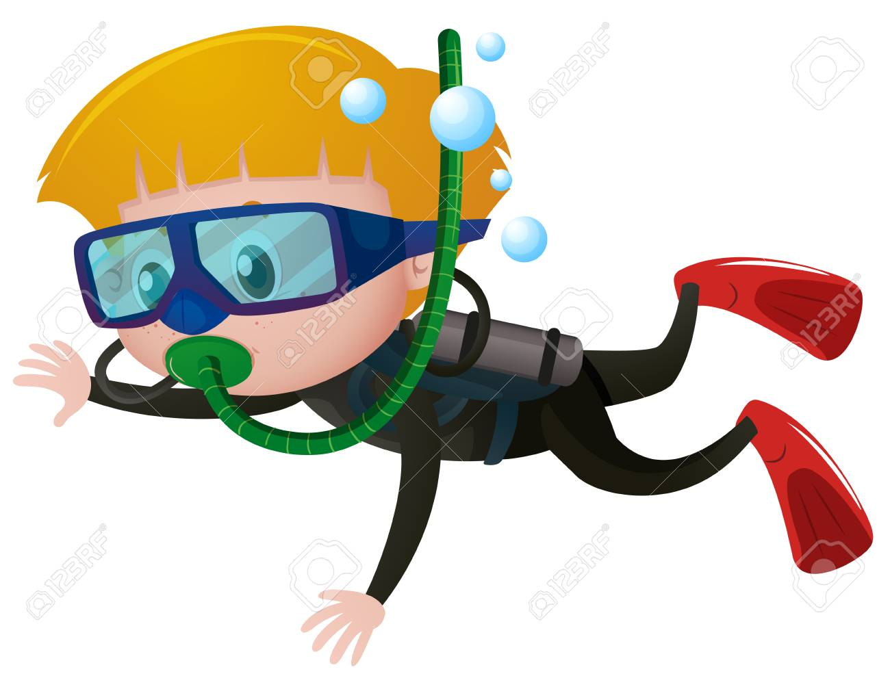 363516990dbbb Boy Scuba Diving Underwater Illustration Royalty Free Cliparts ...