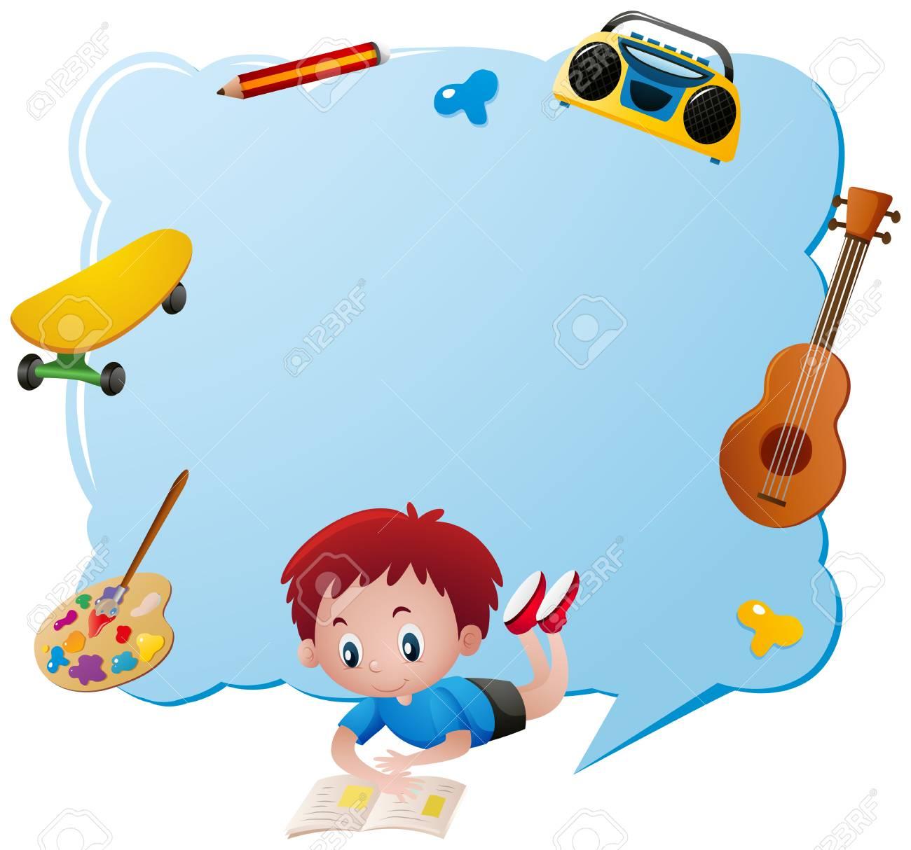 Plantilla De Borde Con Ilustración De Objetos De Niño Y Escuela ...