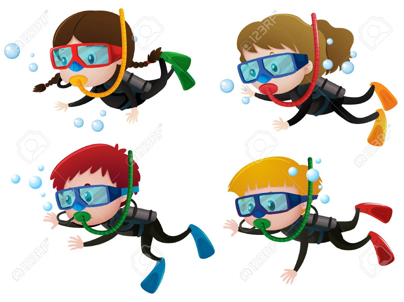 e650aee86d16a Four Kids Scuba Diving Underwater Illustration Royalty Free Cliparts ...