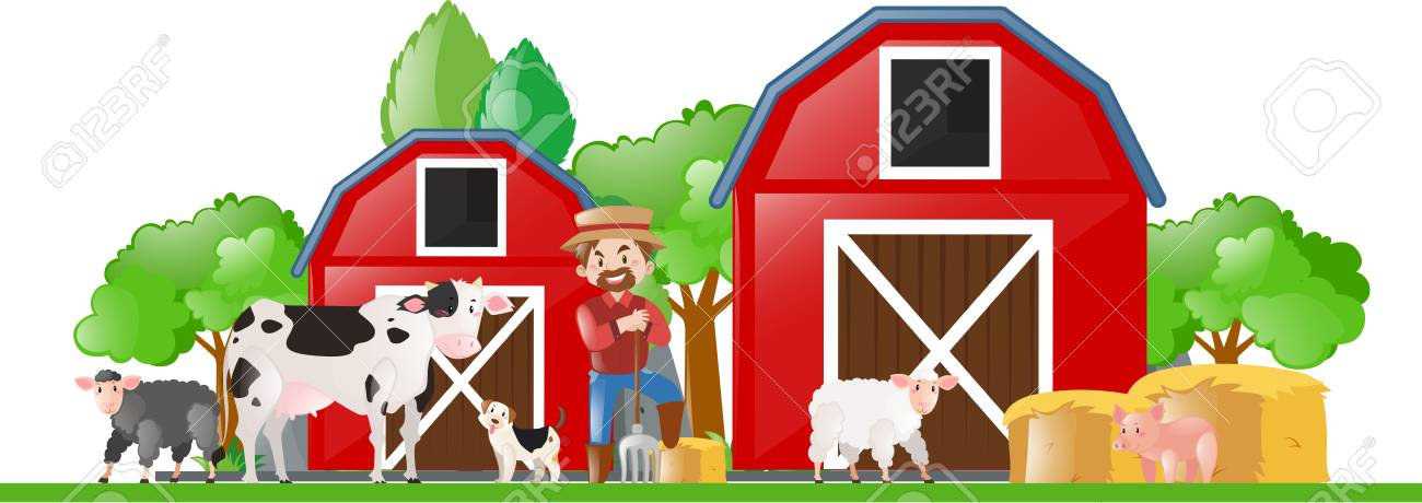 Farm Scene With Farmer And Many Animals Illustration Stock Vector