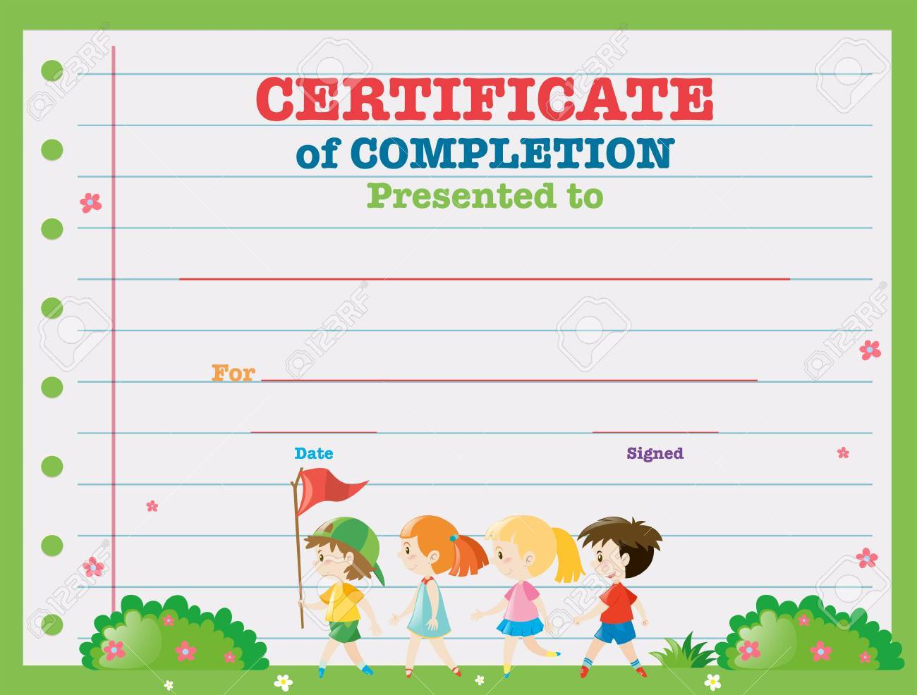 certificate template with kids walking in the park illustration