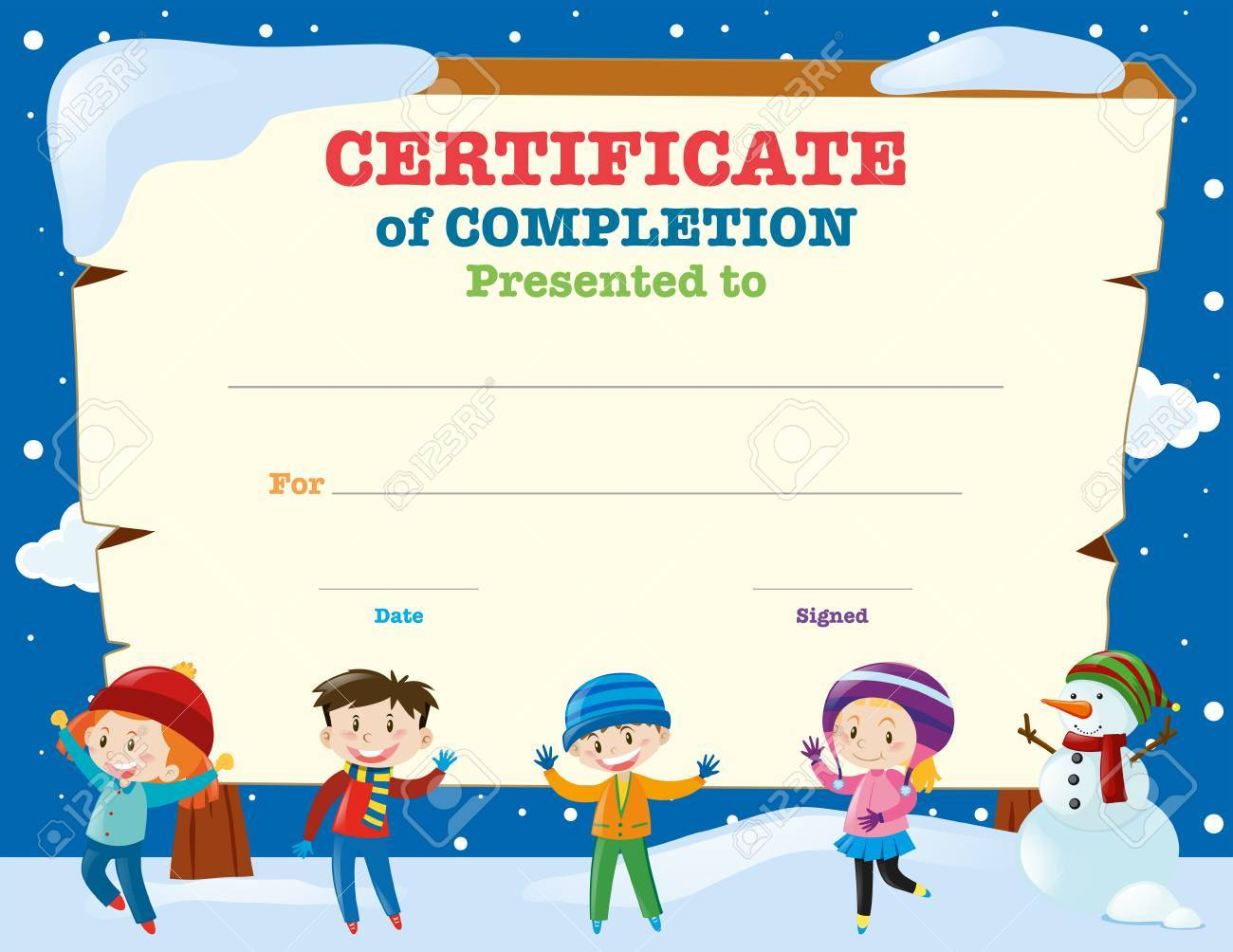Certificate Template With Kids In The Snow Illustration Royalty Free ...