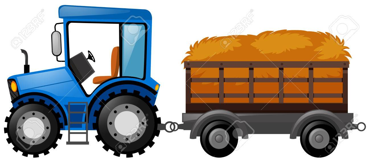 blue tractor with wagon loaded with hay illustration royalty free rh 123rf com Carnival Clip Art Farmer Clip Art