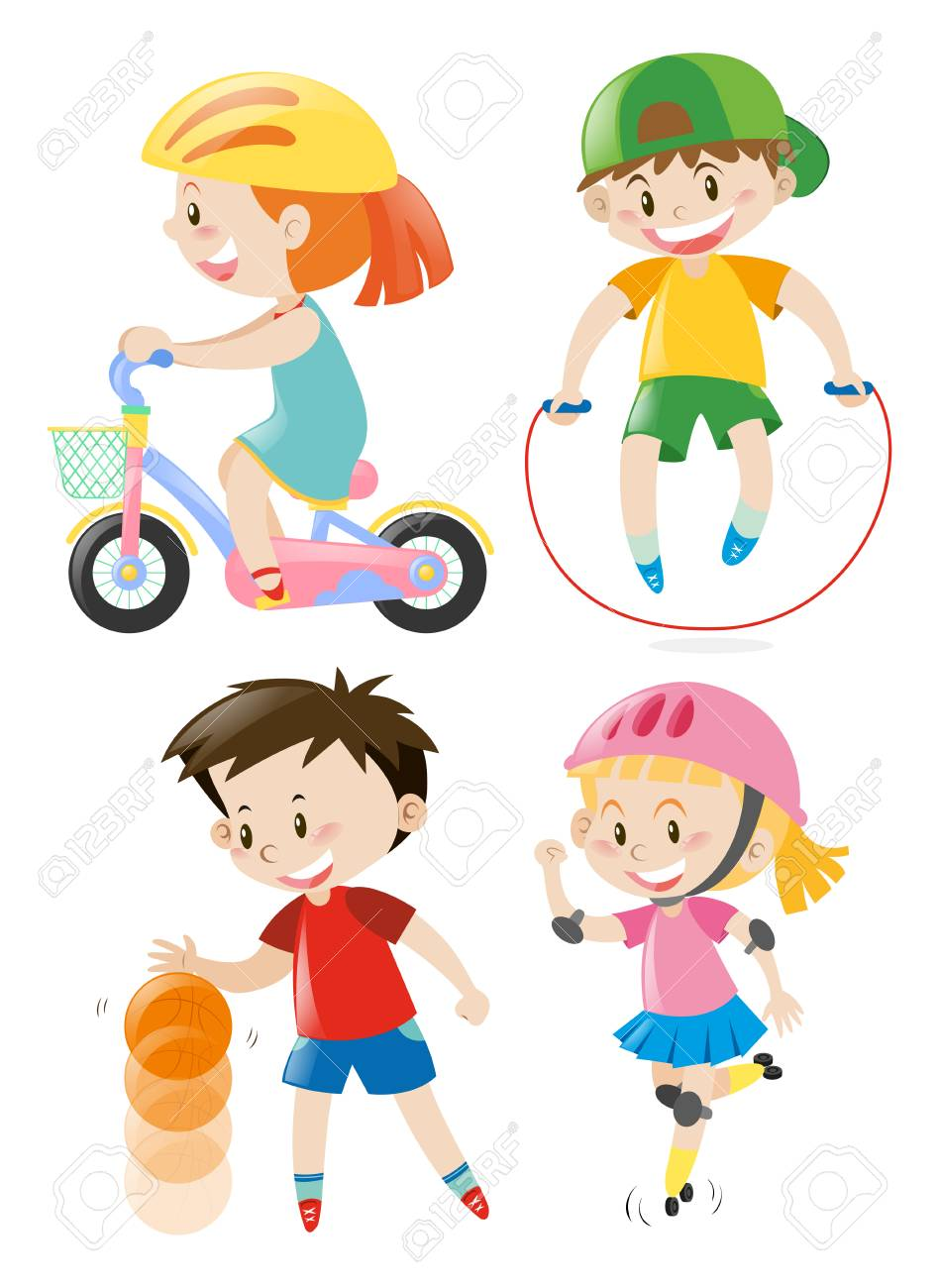 Kids Doing Different Types Of Exercises Illustration Royalty Free Cliparts Vectors And Stock Illustration Image 68177957