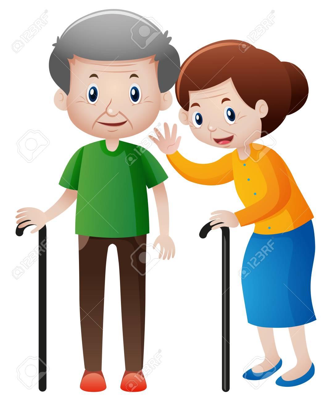 おじいさんとおばあさんの杖イラストのイラスト素材 ベクタ Image