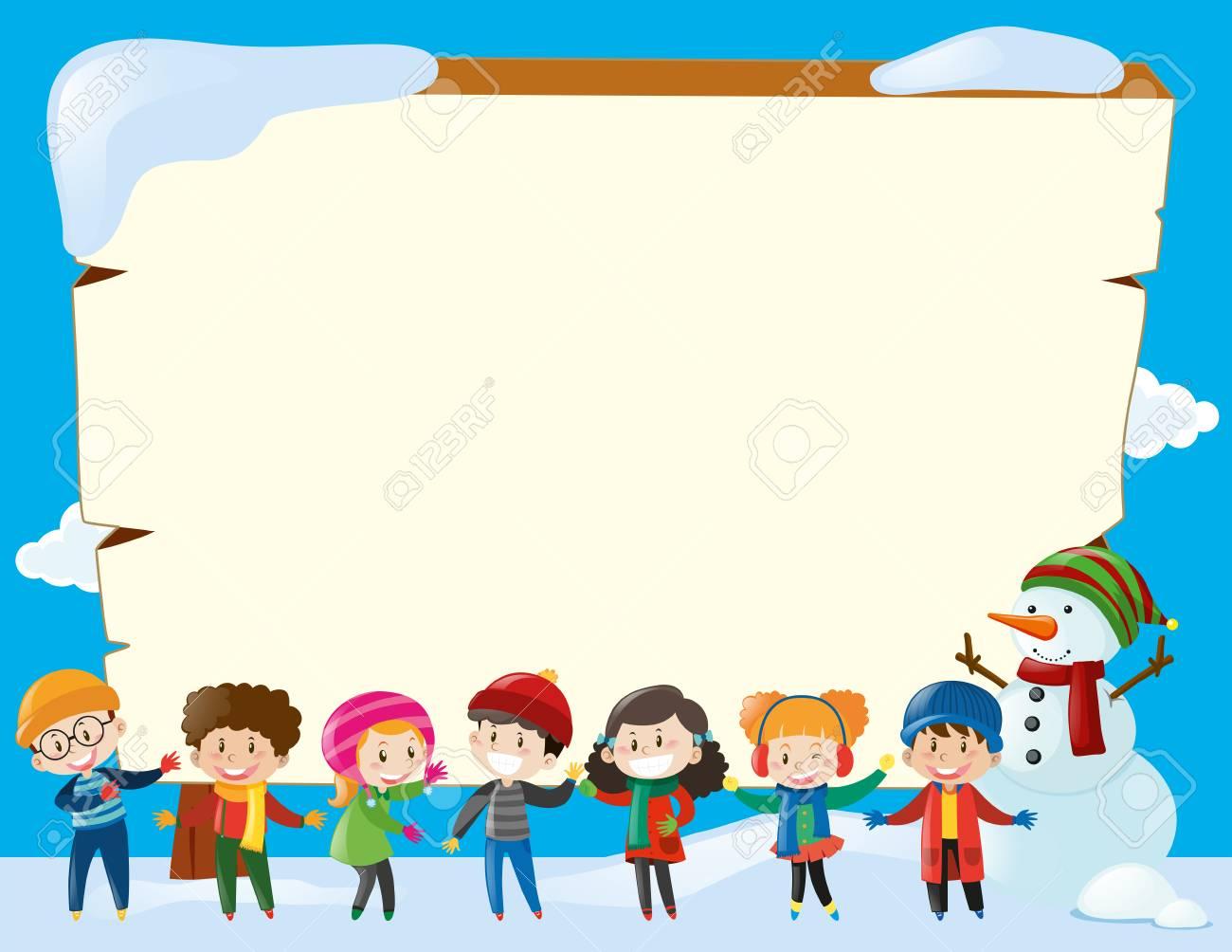 冬のイラストの子供たちと枠線テンプレートのイラスト素材ベクタ