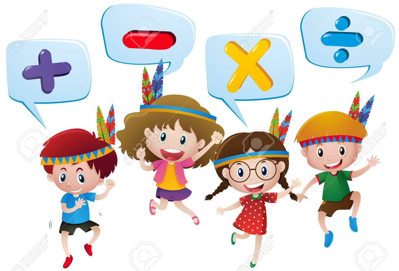 Kids And Different Math Signs Illustration Royalty Free Cliparts ...