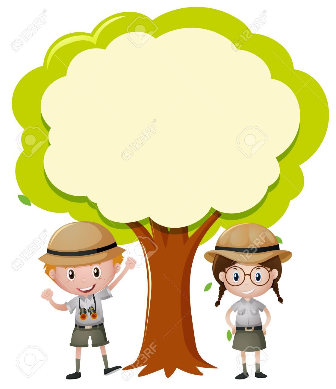 Plantilla De Borde Con Niño Y Niña Bajo La Ilustración De árbol ...