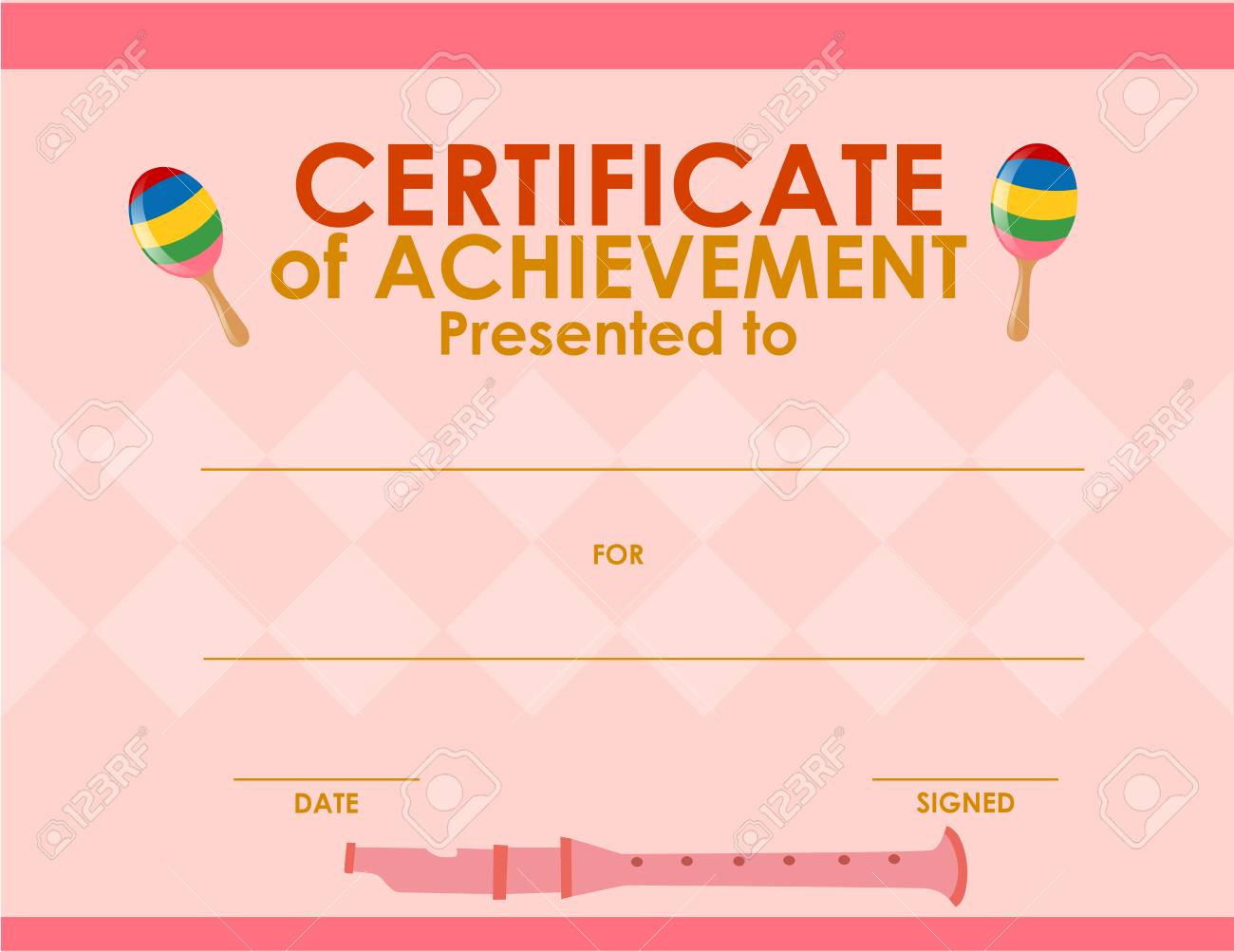 Certificate Template With Pink Background Illustration Royalty Free ...