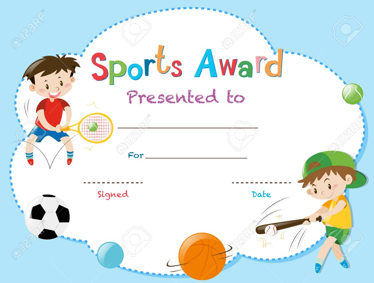 Certificate Template With Two Boys Playing Sports Illustration ...