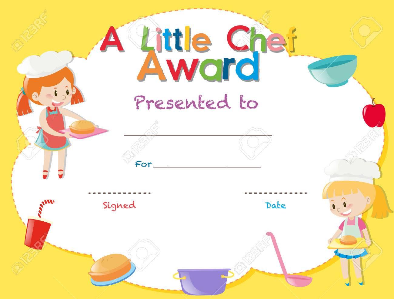 Plantilla De Certificado Con Niños Cocinando Ilustración ...