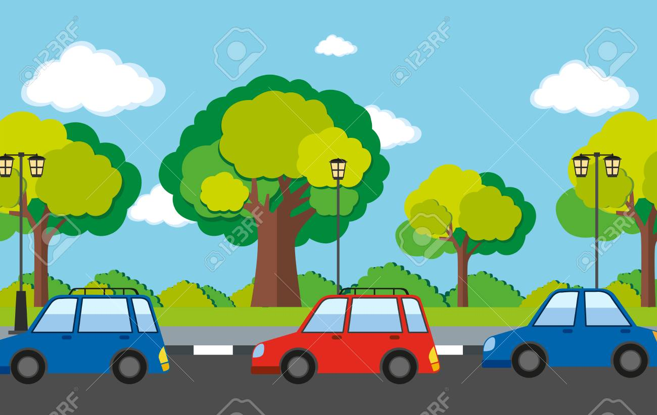 Road Scene With Cars On The Road Illustration Royalty Free Cliparts Vectors And Stock Illustration Image 69550750