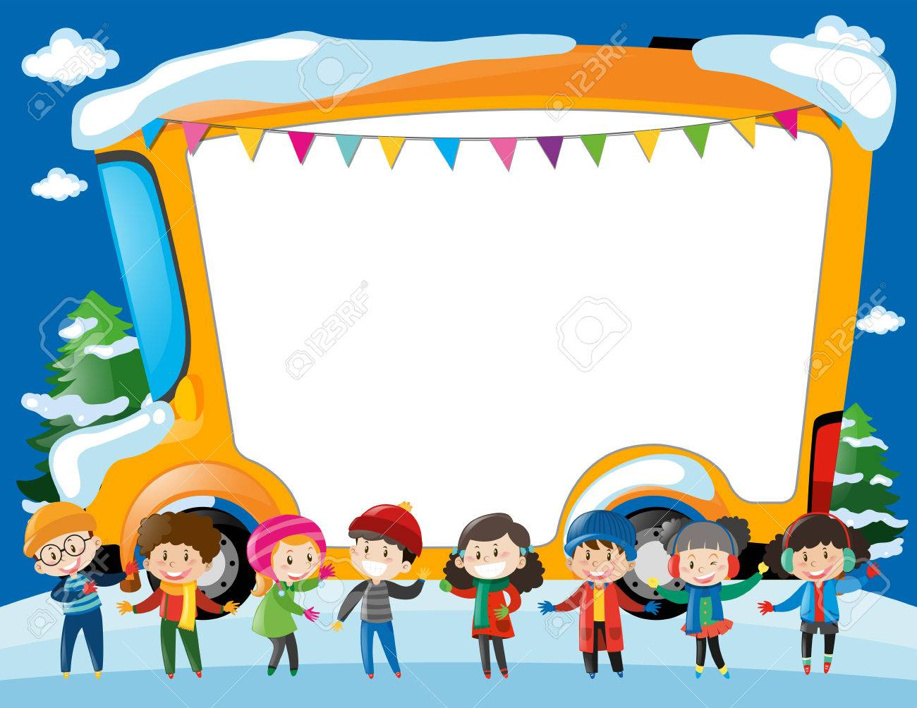 border template with kids and schoolbus illustration royalty free