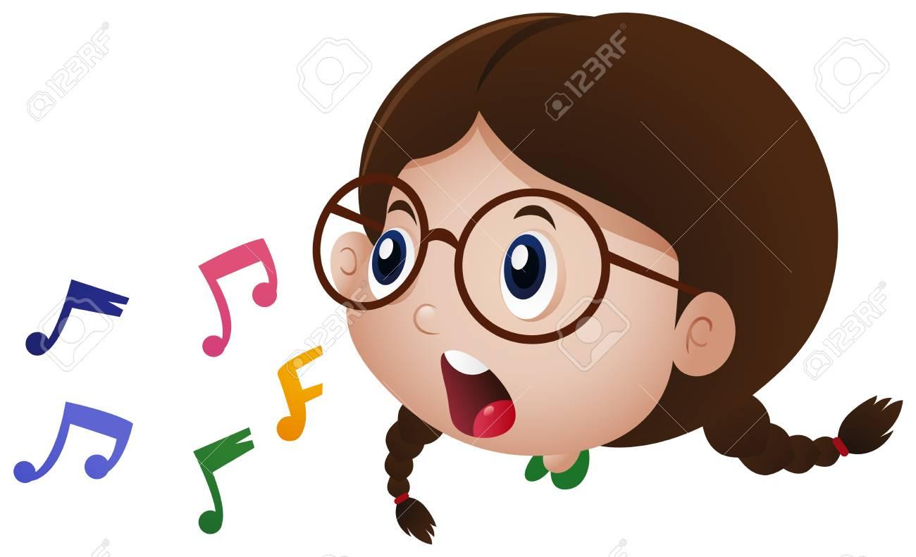 Niña cantando con la ilustración de notas musicales