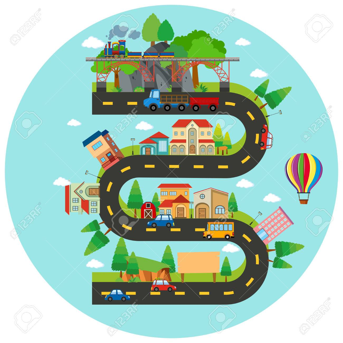 Infographic winding road and buildings illustration Stock Vector - 70917921
