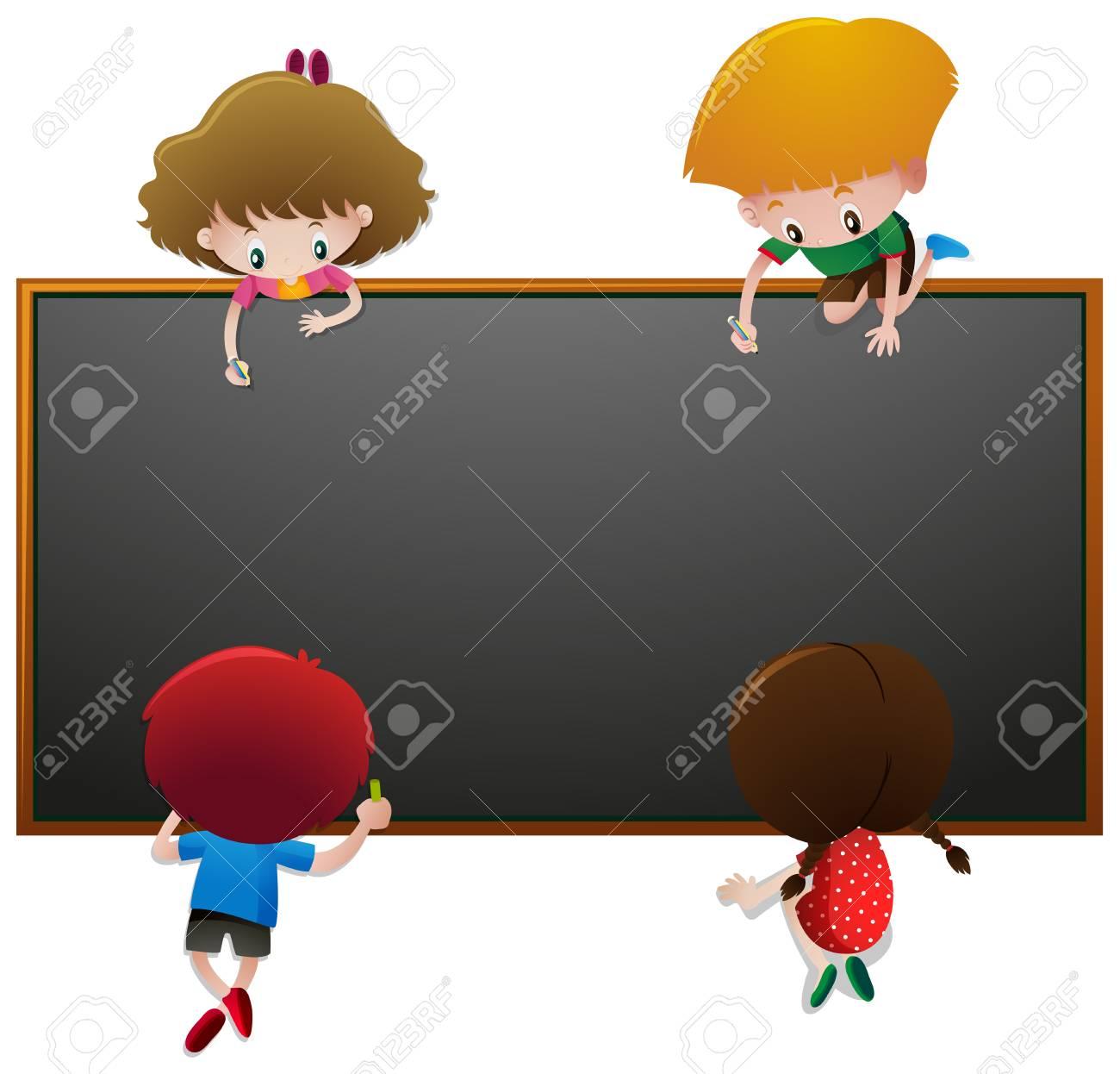 Niños, Escritura, Pizarra, Ilustración Ilustraciones Vectoriales ...