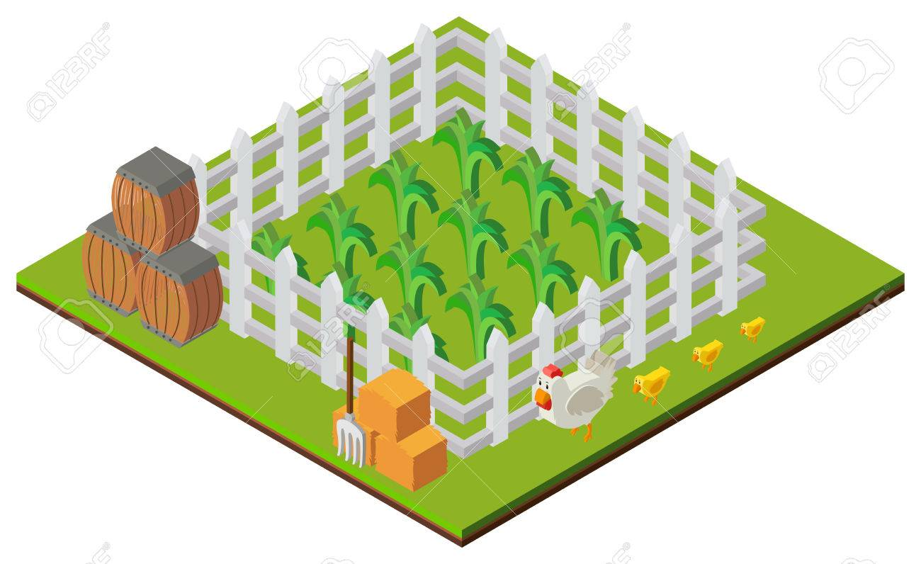 3d design for farm scene with crops and chickens illustration rh 123rf com  farm scenery clipart