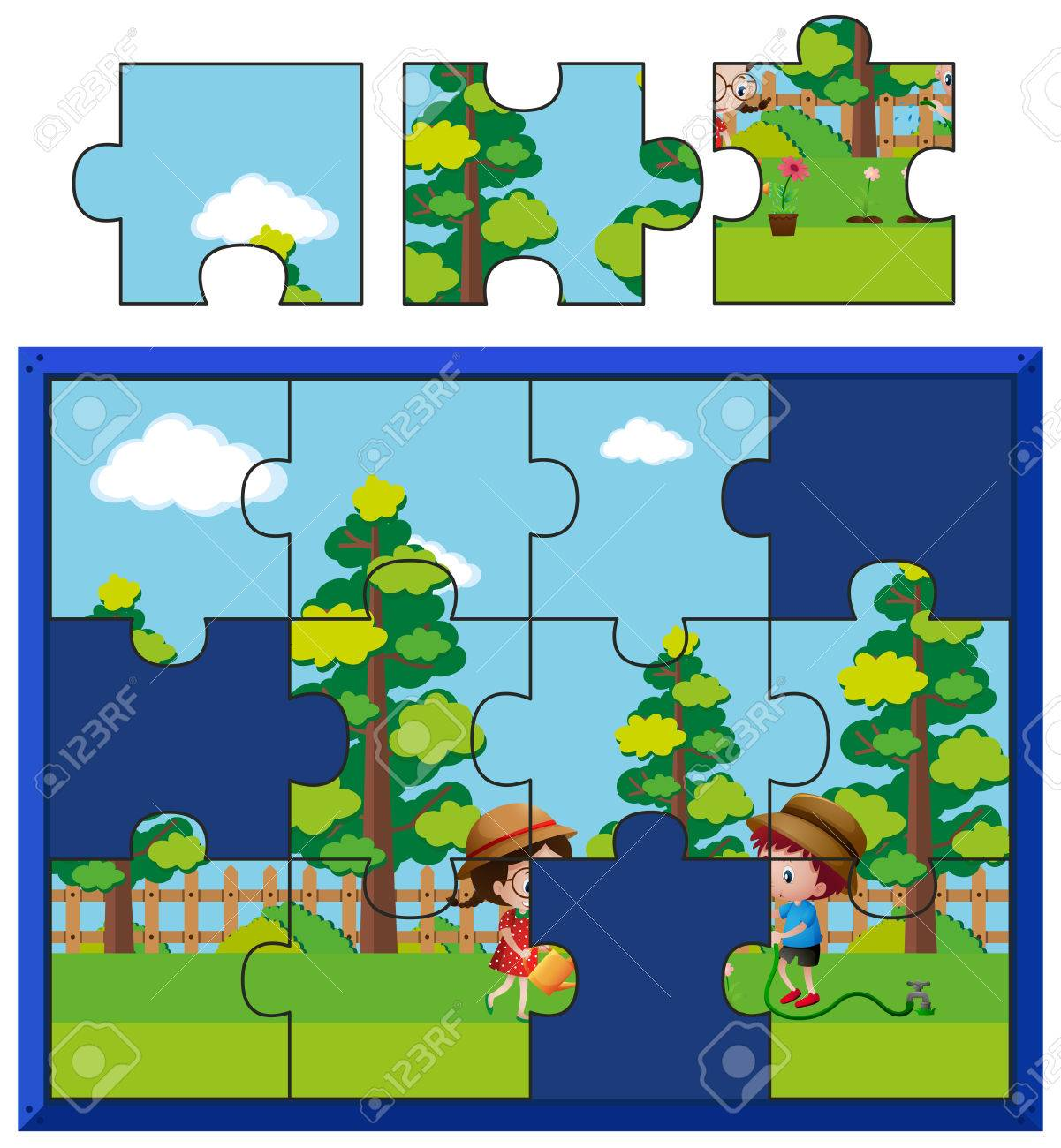 Jigsaw Puzzle Pieces For Kids Watering Plants Illustration Stock Vector