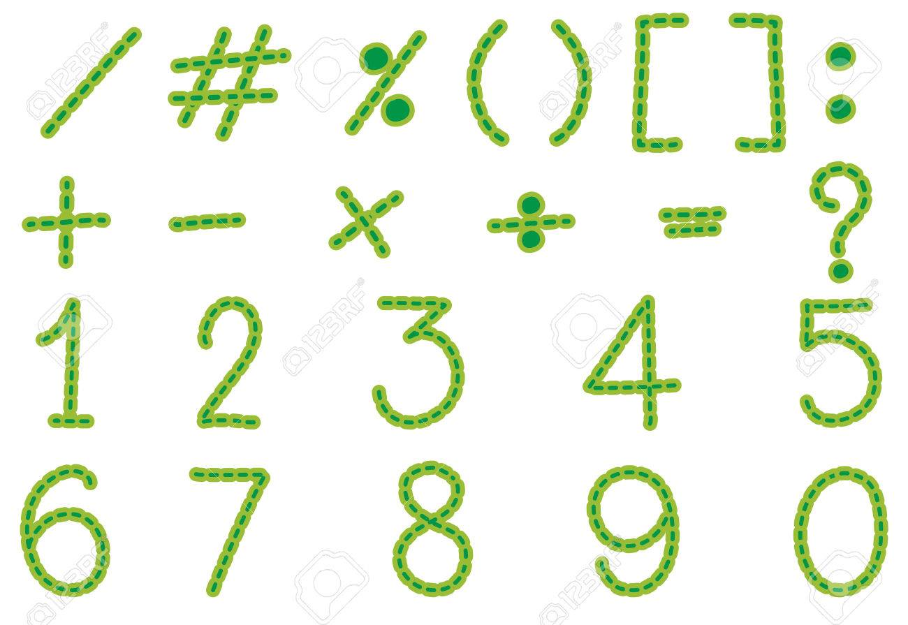 Numbers And Signs In Green Color Illustration Royalty Free Cliparts ...