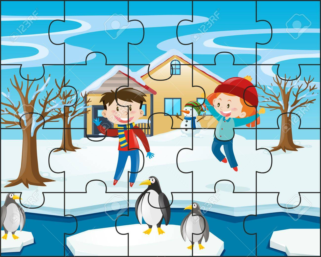 Jigsaw Puzzle Game With Kids In Winter Illustration Stock Vector