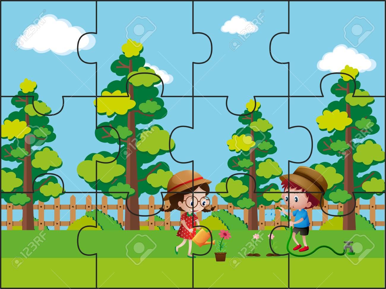piezas de rompecabezas para niños en la ilustración del parque