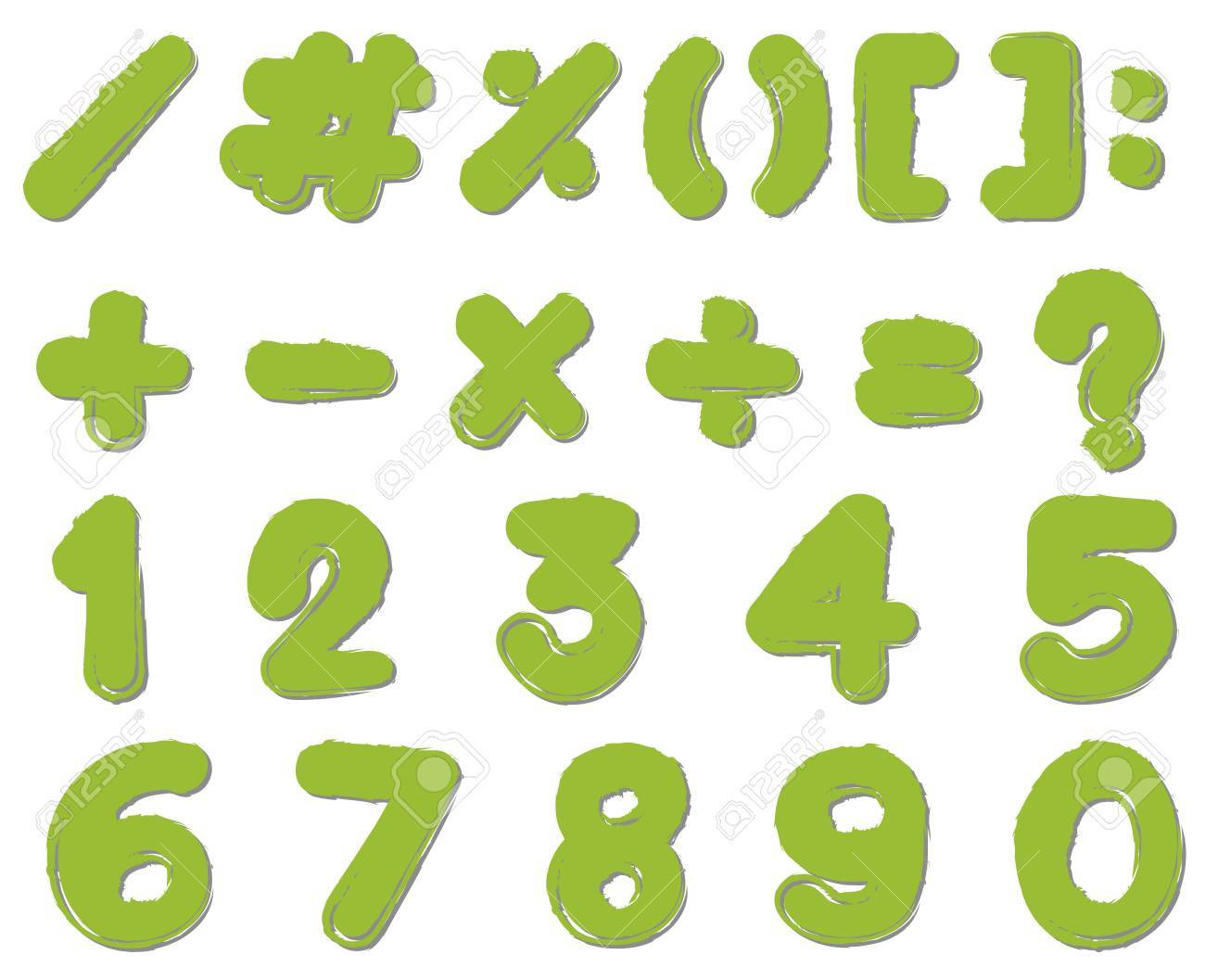Font Design For Numbers And Signs In Green Color Illustration ...