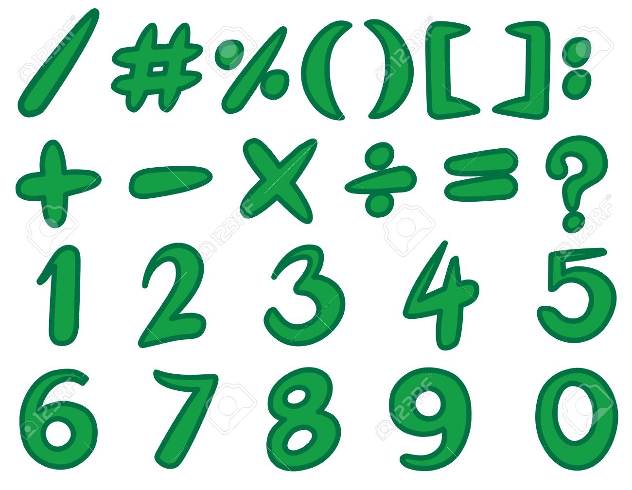 Numbers And Simple Signs In Green Color Illustration Royalty Free ...