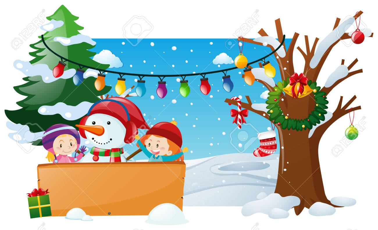 Winter scene with kids and snowman illustration - 76165714