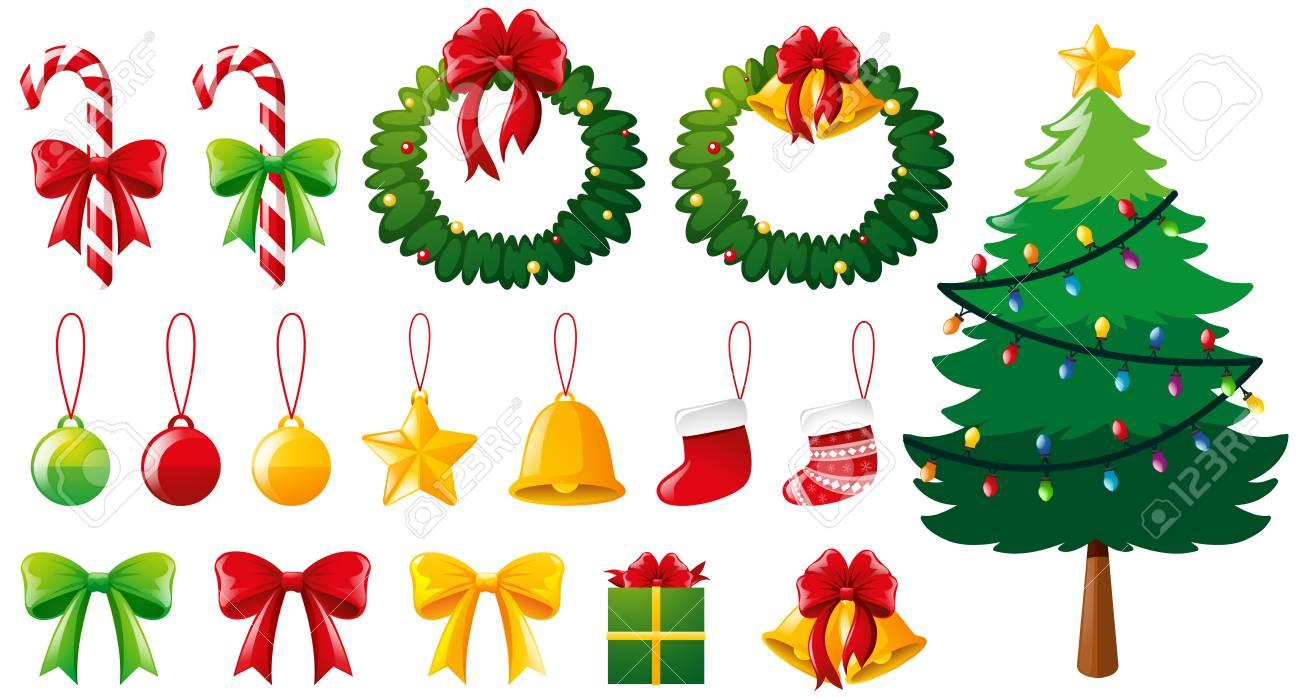 クリスマス ツリーと多く飾りイラストのイラスト素材 ベクタ Image