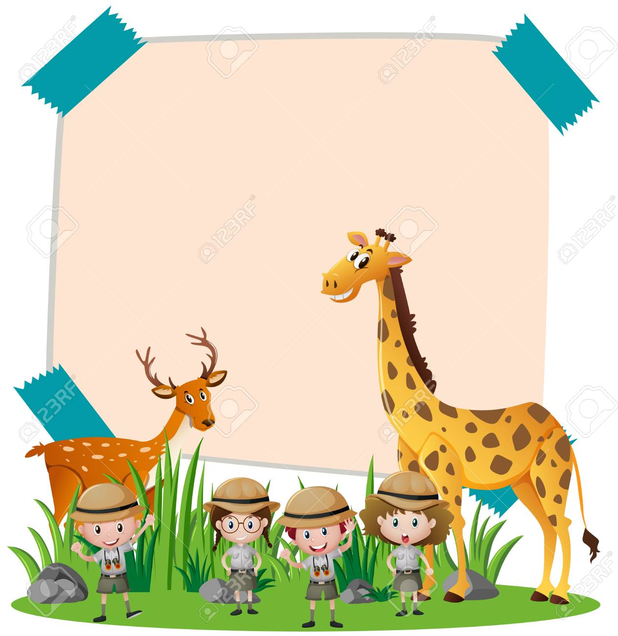 Paper Template With Wild Animals And Kids Illustration Royalty Free