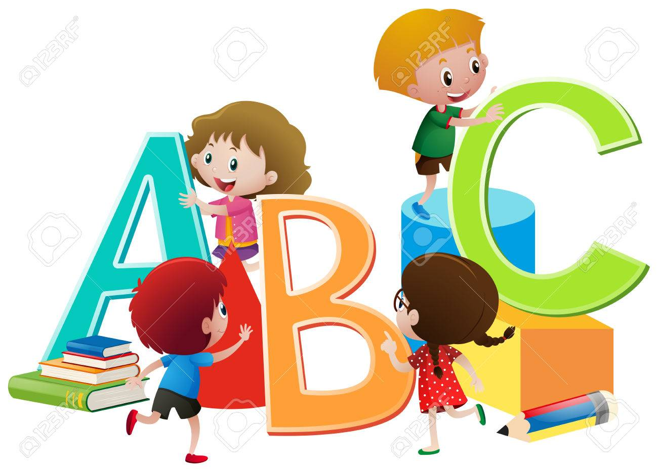 Children With English Alphabets Blocks Illustration Royalty Free Cliparts Vectors And Stock Illustration Image 78179952