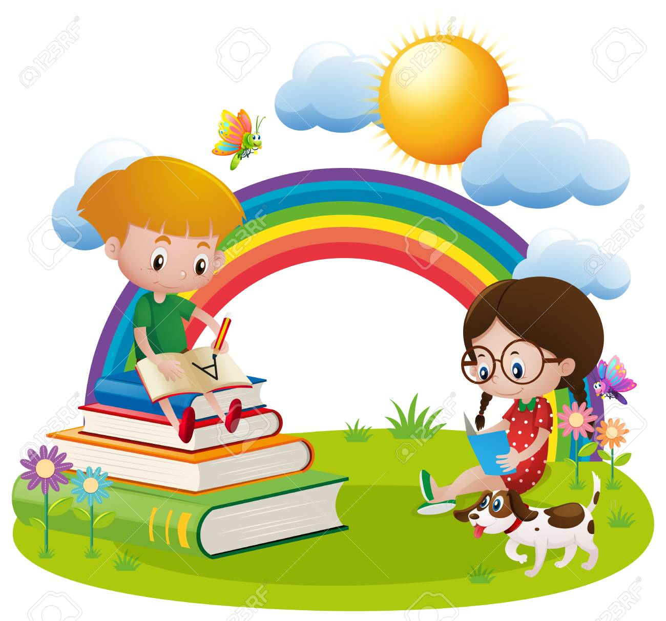 two kids reading and writing in garden illustration royalty free