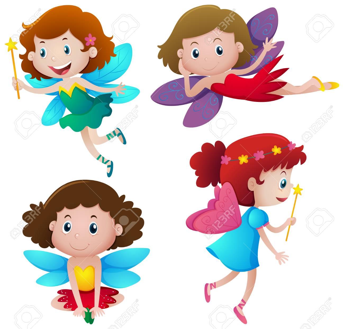 4 つのかわいい妖精イラストを飛んでのイラスト素材ベクタ Image