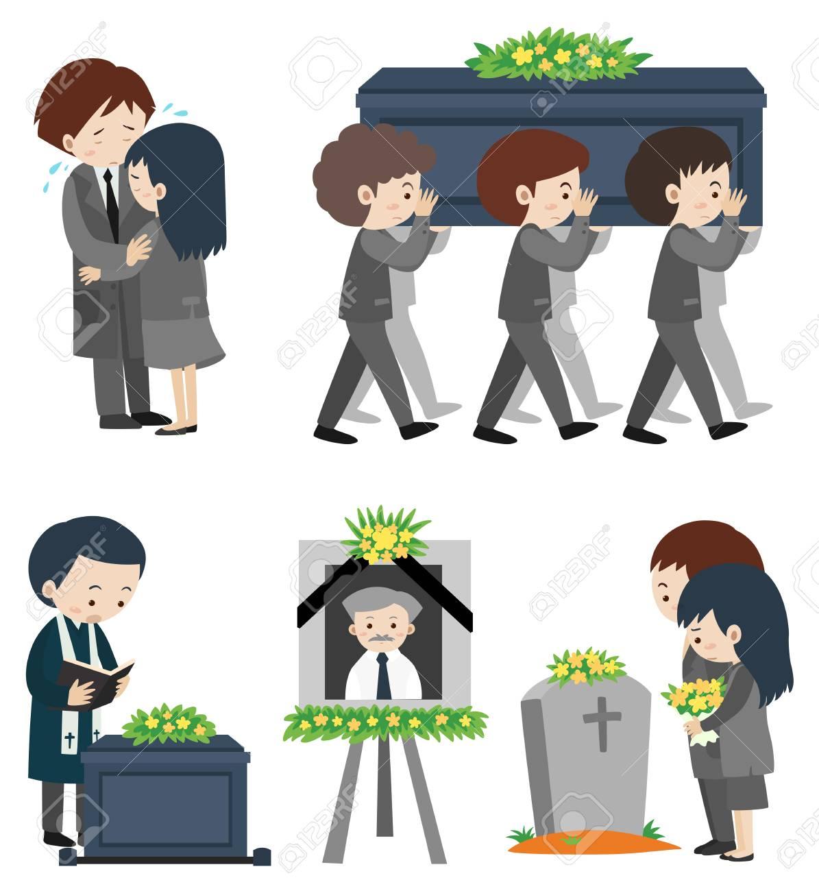 イラストは泣いている人と葬儀のイラスト素材 ベクタ Image 78181659