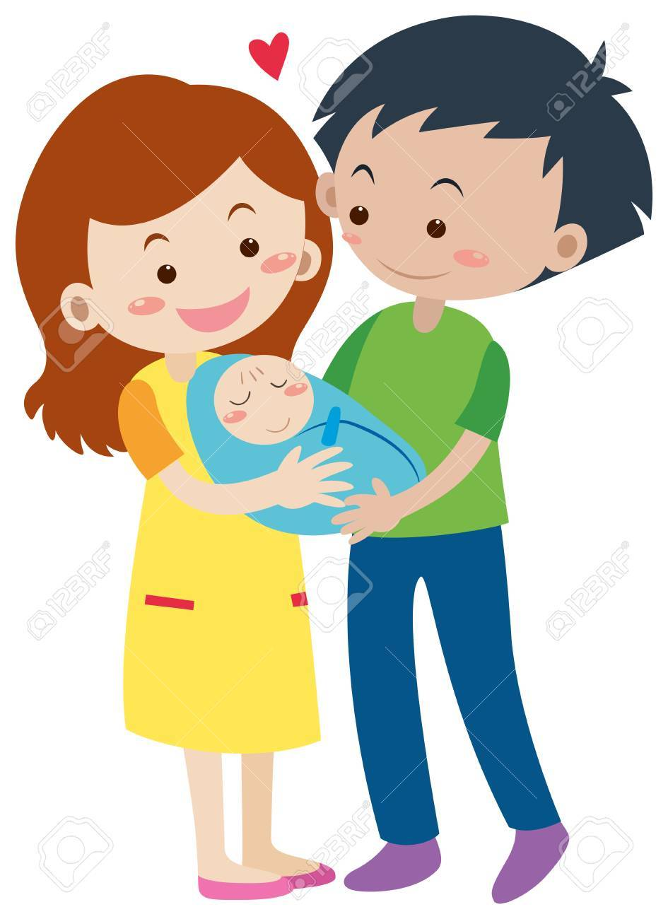 Clipart Famille famille avec les parents et l'illustration du nouveau-né clip art