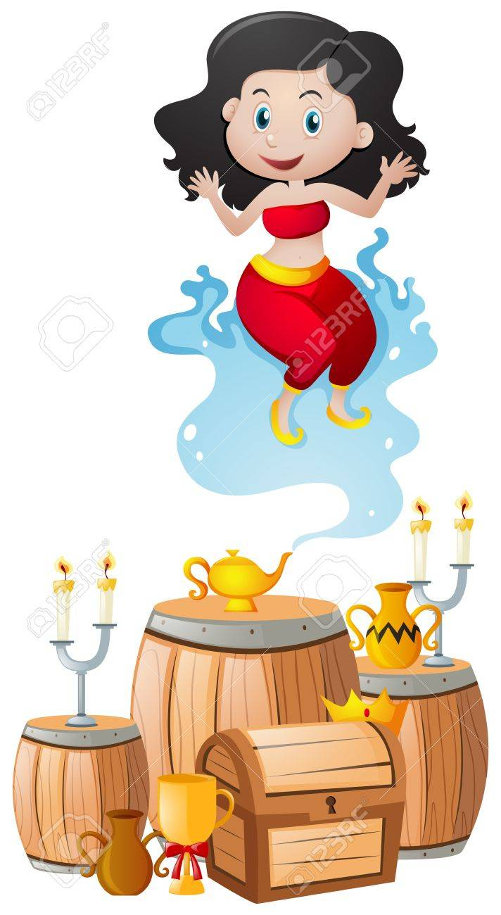 Genie And The Lamp In Treasure Pile Illustration Stock Vector   78179749