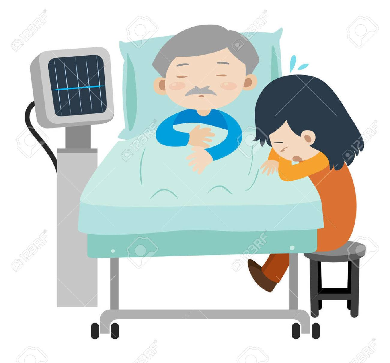 Ordinaire Dead Man On Hospital Bed And Girl Crying Illustration Stock Vector    78183440
