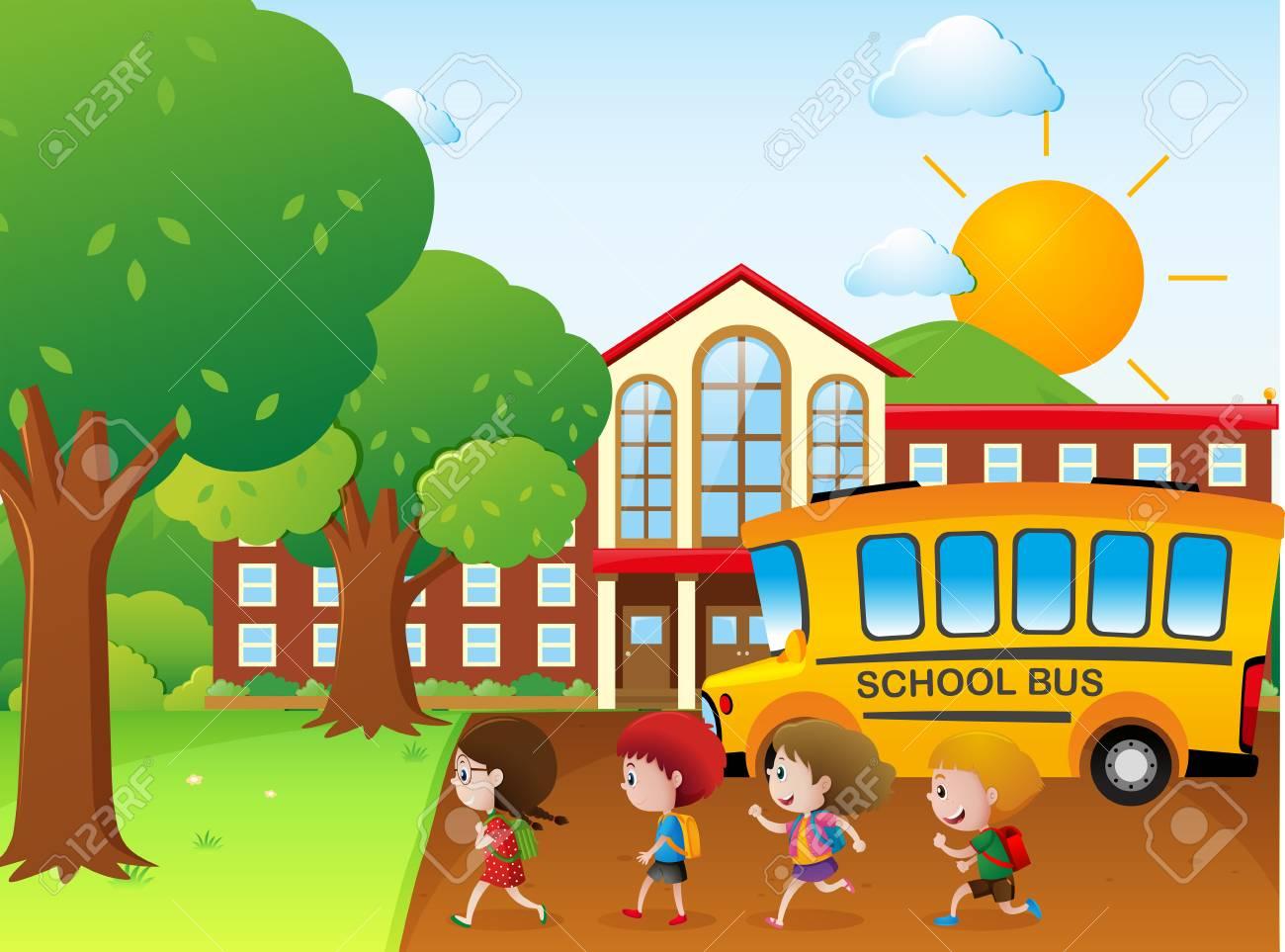 Niños Yendo A La Escuela Por La Ilustración Del Autobús Escolar