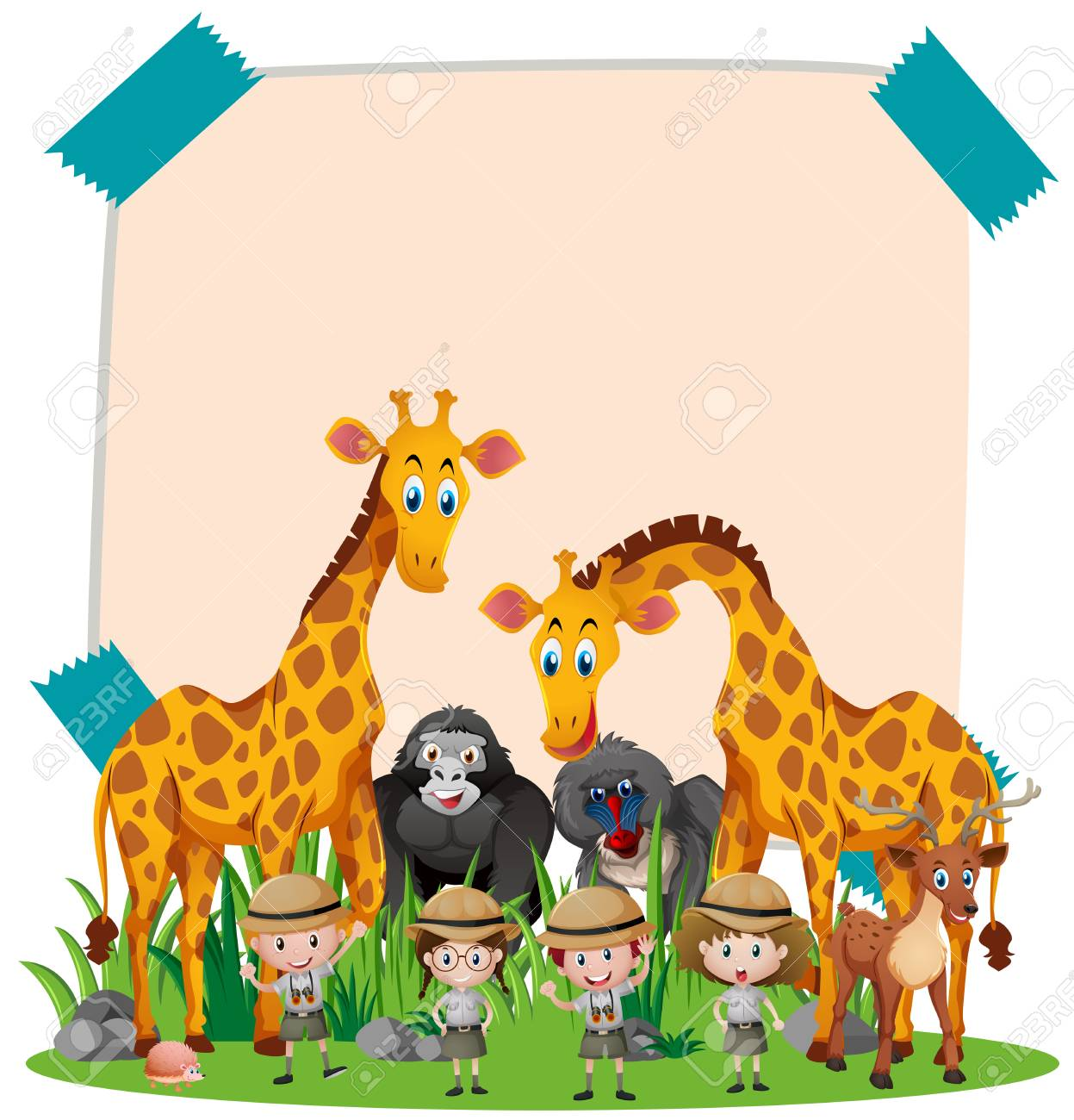 Paper template with wild animals and kids illustration